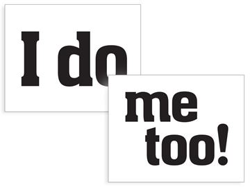 "Sko stickers ""I do"" & ""Me too"""