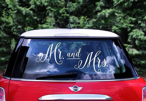 """Bil stickers """"Mr and Mrs"""""""