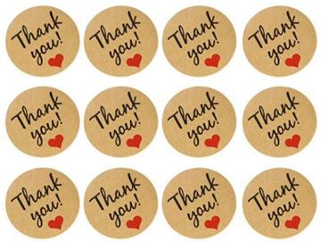 "Stickers ""Thank you"" ark med 12 mærker"