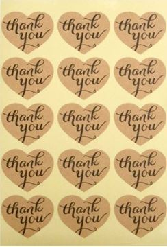 "Stickers ""Thank you"" ark med 12 mærker hjerteformet"