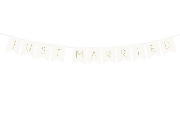 Banner hvidt Just Married, 155cm