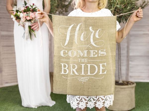 "Banner ""Here comes the bride"""