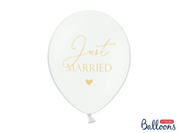 "Balloner hvide ""Just Married"" 6 stk"