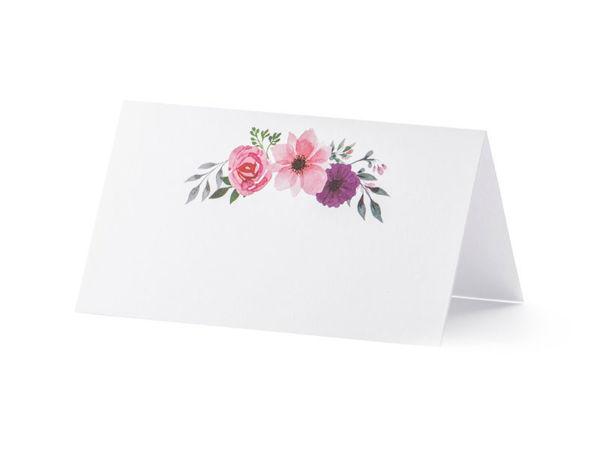 Bordkort hvidt med blomster 25 stk.