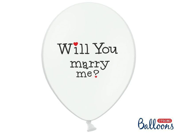 "Balloner hvide ""Wil you marry me"" - ""Yes!"""