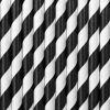 Papirsugerør sort og hvidstribet 10 stk, længde 19.5cm
